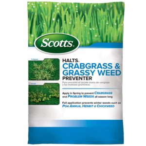 Roll over image to zoom in Scotts Halts Crabgrass & Grassy Weed Preventer